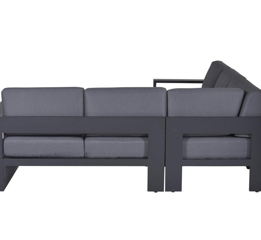 Cube hoek loungeset 3-delig aluminium antraciet