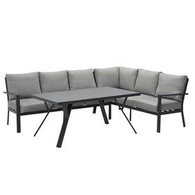 Garden Impressions Sergio hoek dining loungeset rechts 3-delig aluminium antraciet