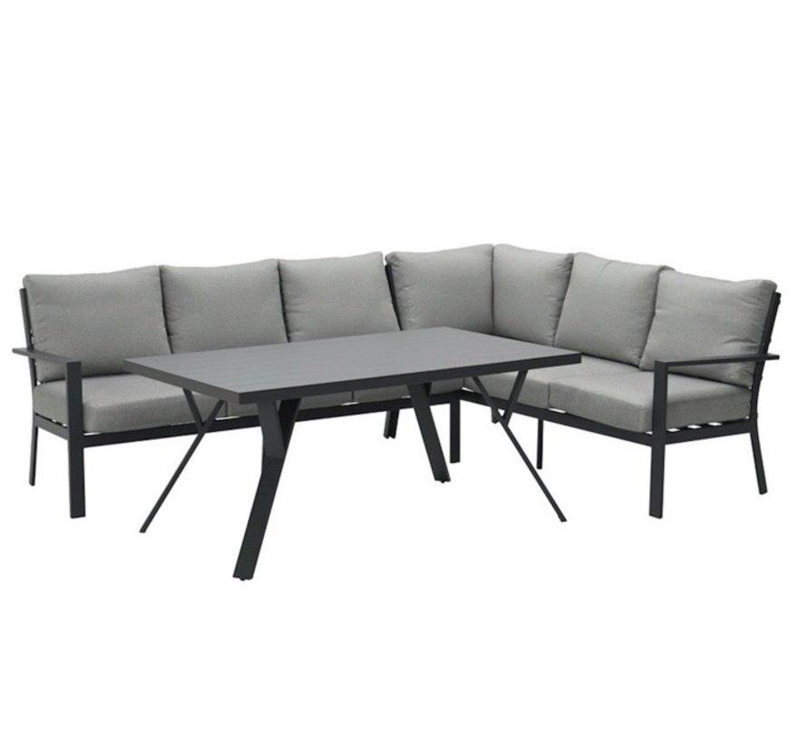 Sergio hoek dining loungeset rechts 3-delig aluminium antraciet