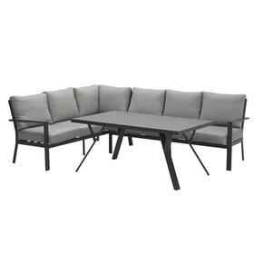 Garden Impressions Sergio hoek dining loungeset links 3-delig aluminium antraciet