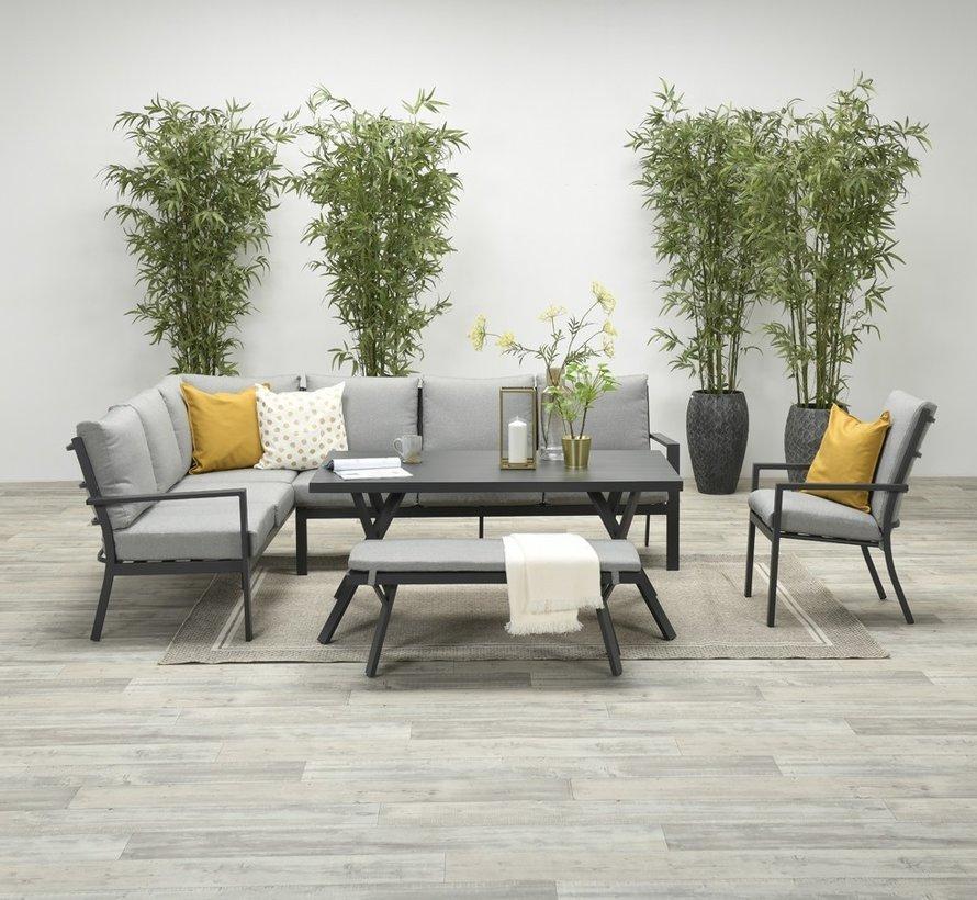 Sergio hoek dining loungeset links 3-delig aluminium antraciet