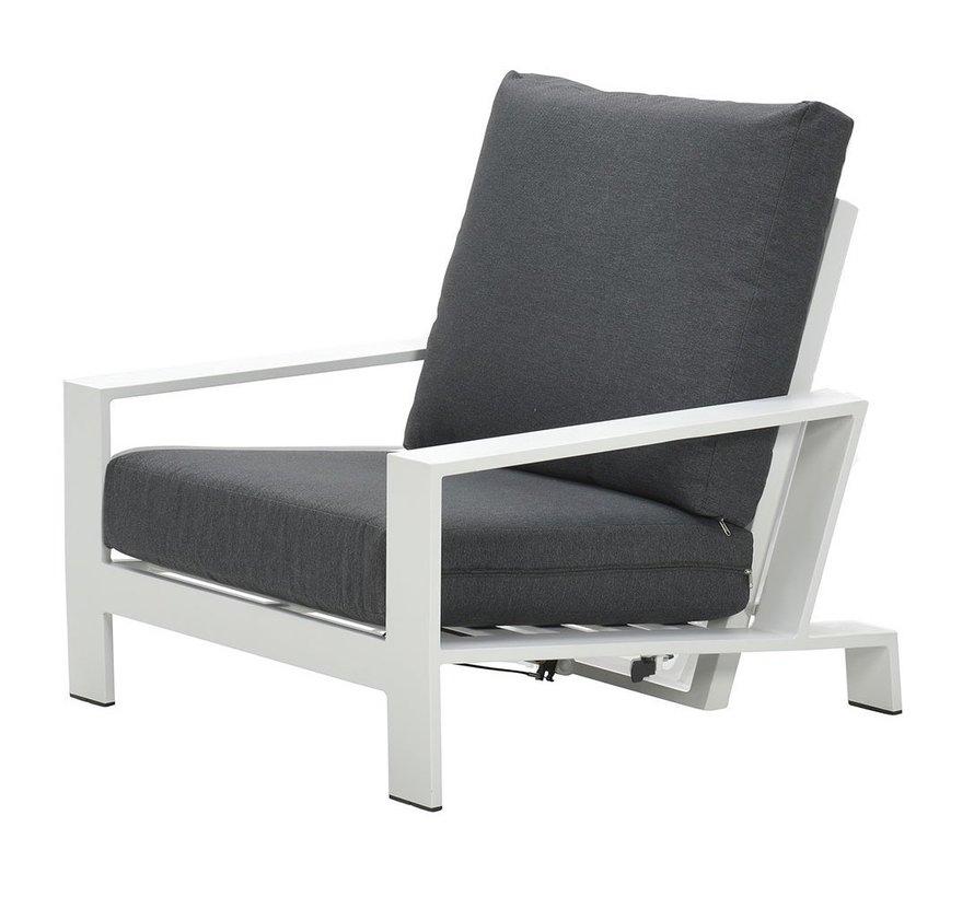 Lincoln lounge tuinstoel verstelbaar aluminium wit