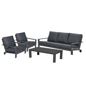 Garden Impressions Lincoln stoel-bank loungeset 4-delig antraciet aluminium