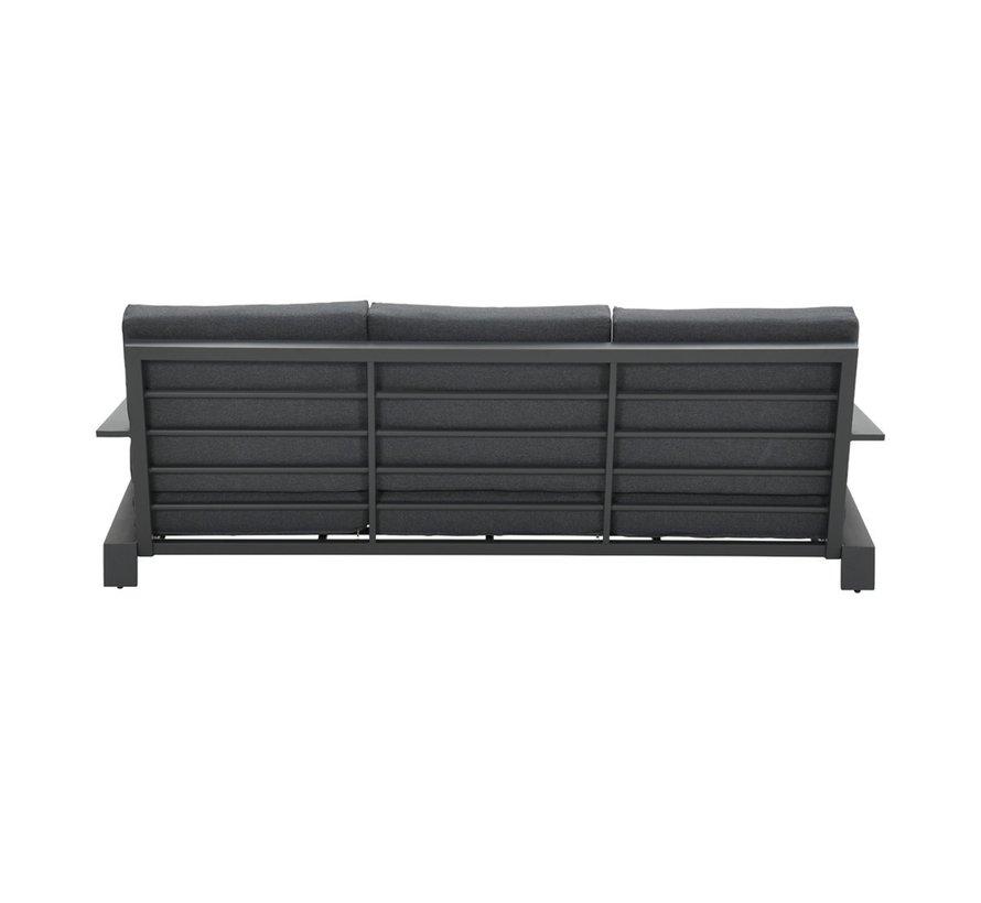 Lincoln stoel-bank loungeset 4-delig antraciet aluminium