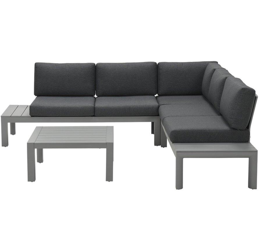 Adelaide hoek loungeset 4-loungeset antraciet aluminium