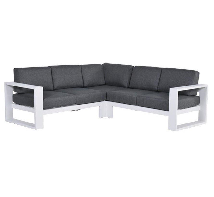 Cube hoek loungeset 3-delig aluminium wit