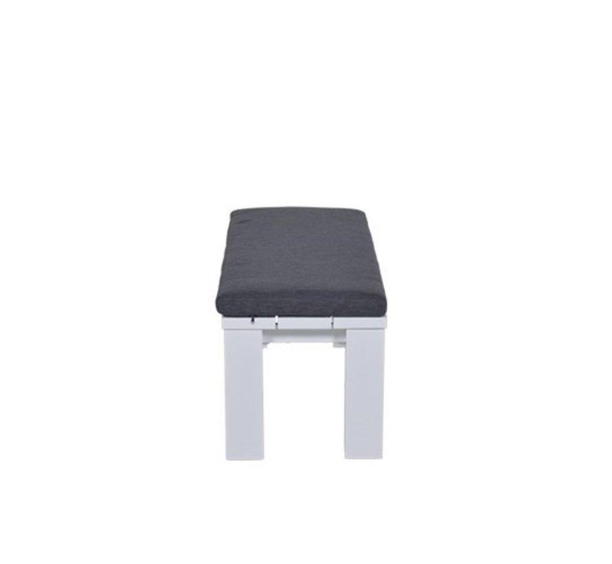 Cube tuinbank 115,5x43xH40 cm aluminium wit