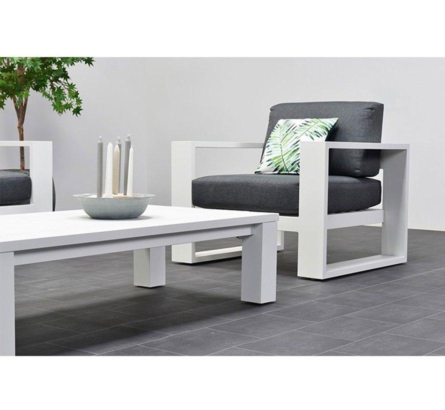 Cube stoel-bank loungeset 4-delig wit aluminium