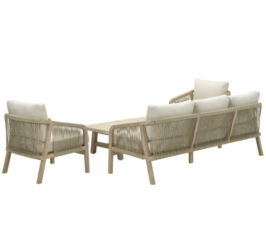 Santos stoel-bank loungeset 4-delig acacia