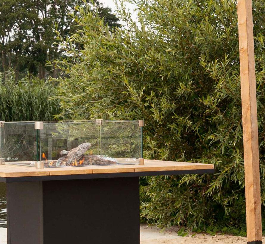 Cosiloft bartafel 100x100xH110 cm wit frame - teak top Cosi Fires