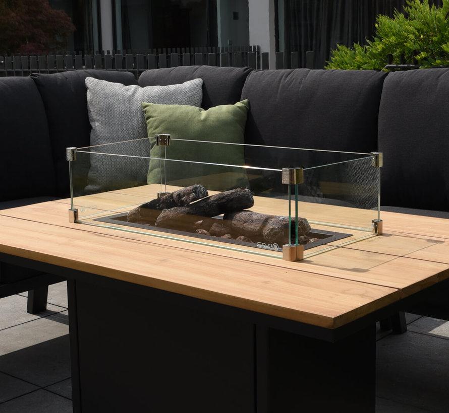 Cosiloft relax dining vuurtafel 120x80xH67 cm zwart teak Cosi Fires