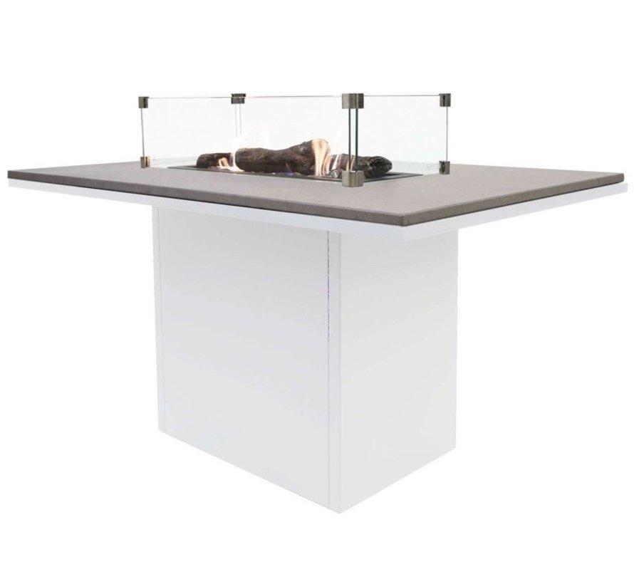 Cosiloft relax dining vuurtafel 120x80xH67cm wit grey top Cosi Fires