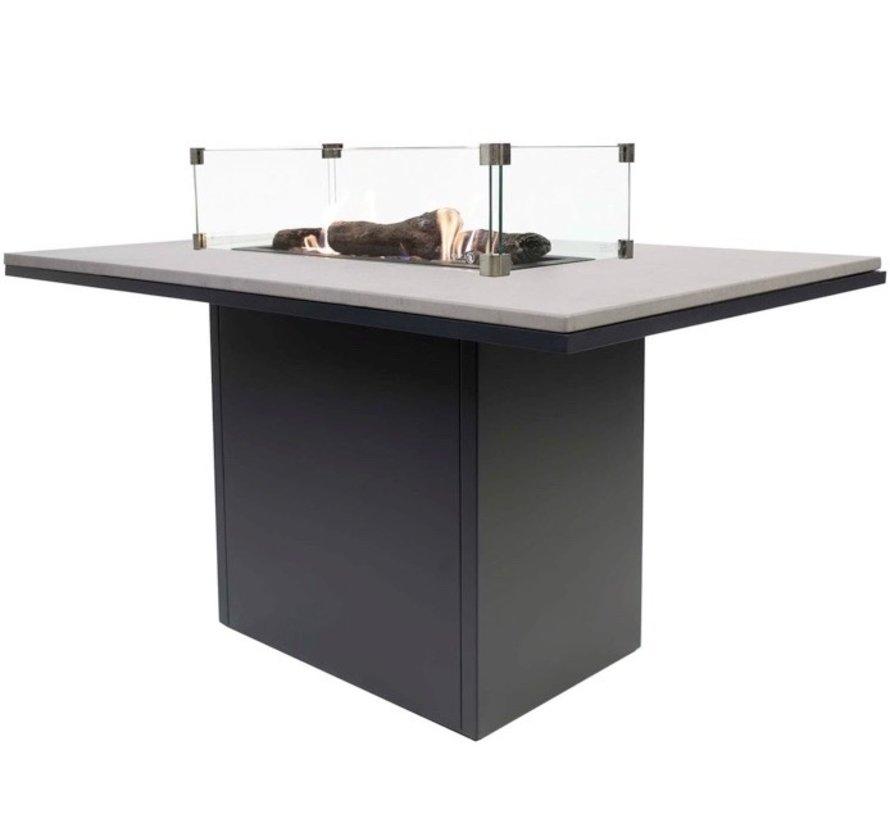 Cosiloft relax dining vuurtafel 120x80xH67cm zwart grey top Cosi Fires