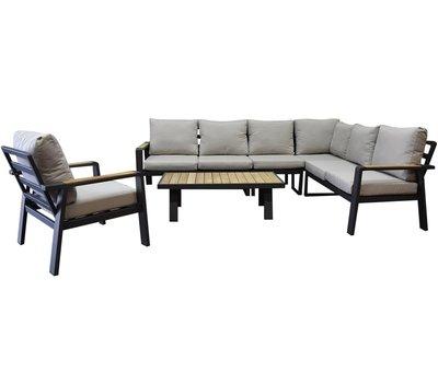 AVH-Collectie Lola hoek loungeset 6-delig aluminium antraciet