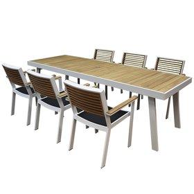 Higold York dining tuinset 260x90xH77 cm 7-delig wit aluminium