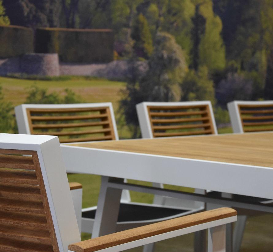 York dining tuinset 260x90xH77 cm 7-delig wit aluminium