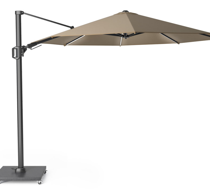 Challenger T2 glow zweefparasol 350 cm rond taupe