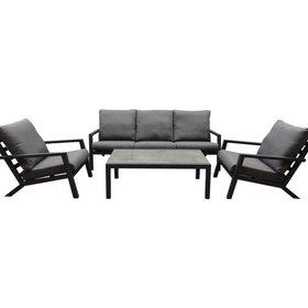 AVH-Collectie Malaga AVH stoel-bank loungeset 4-delig aluminium antraciet