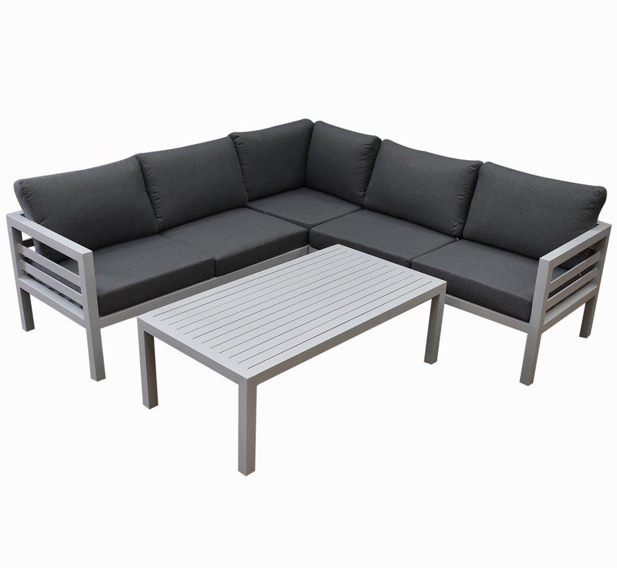 Fabri hoek loungeset 4 delig aluminium wit