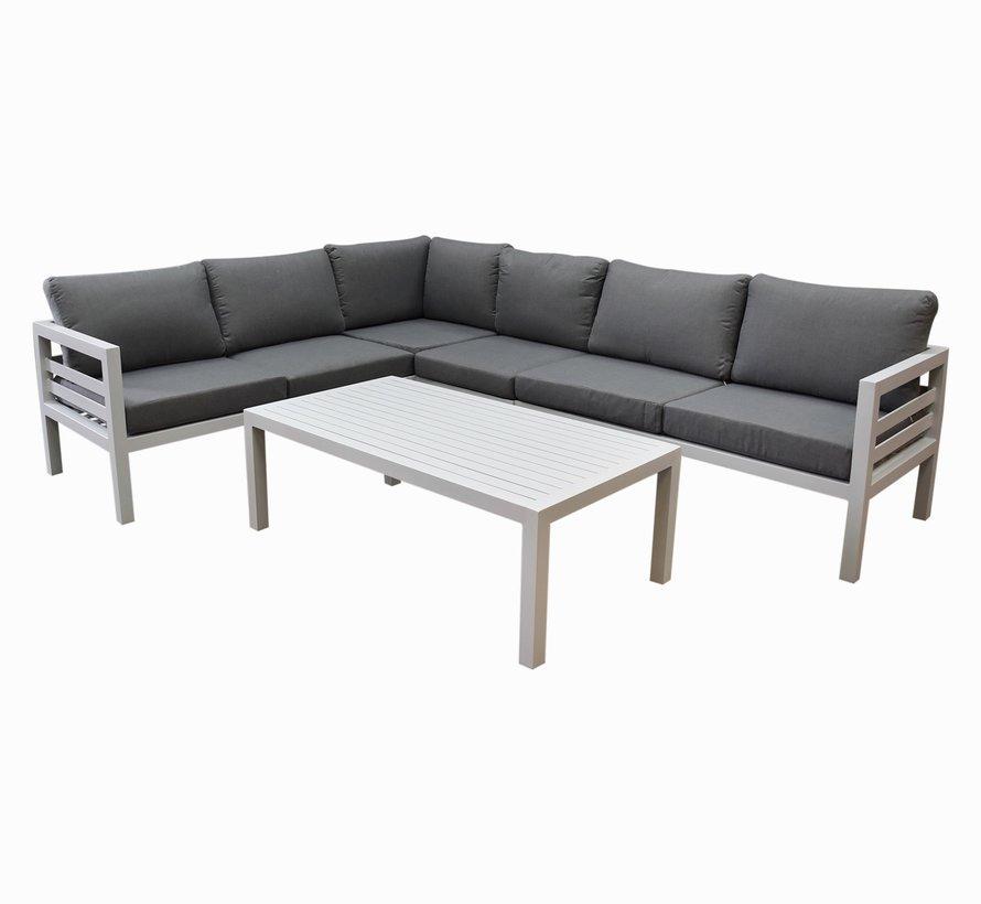 Fabri hoek loungeset 5 delig aluminium wit