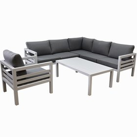 AVH-Collectie Fabri hoek loungeset 5 delig wit aluminium