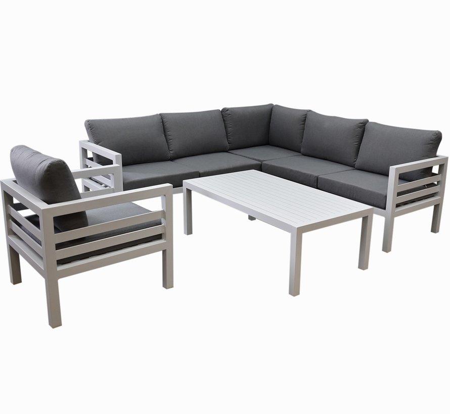 Fabri hoek loungeset 5 delig wit aluminium