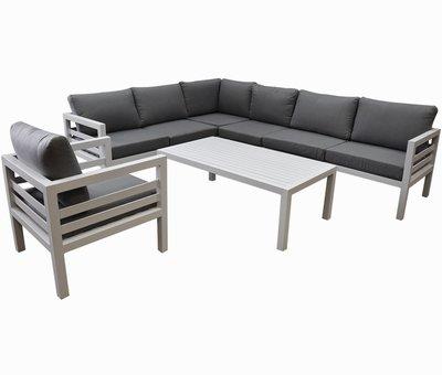 AVH-Collectie Fabri hoek loungeset 6-delig wit aluminium