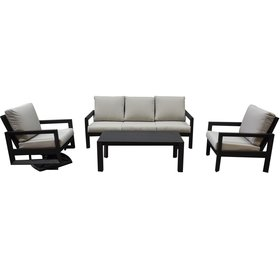 AVH-Collectie Vallena stoel bank loungeset 4-delig aluminium antraciet