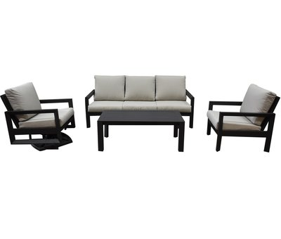 AVH-Collectie Vallena stoel bank loungeset 4-delig aluminium antraciet