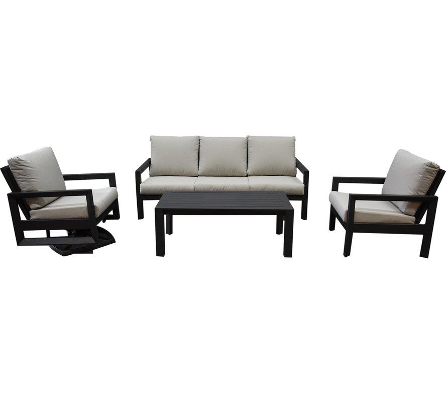 Vallena stoel bank loungeset 4-delig aluminium antraciet