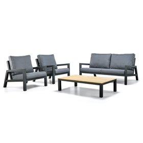 SUNS SUNS Lago stoel bank loungeset 4 delig matt royal grey aluminium / antraciet