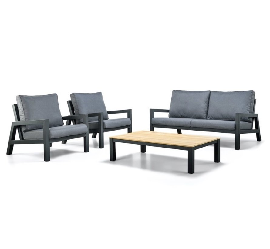 SUNS Lago stoel bank loungeset 4 delig antraciet aluminium
