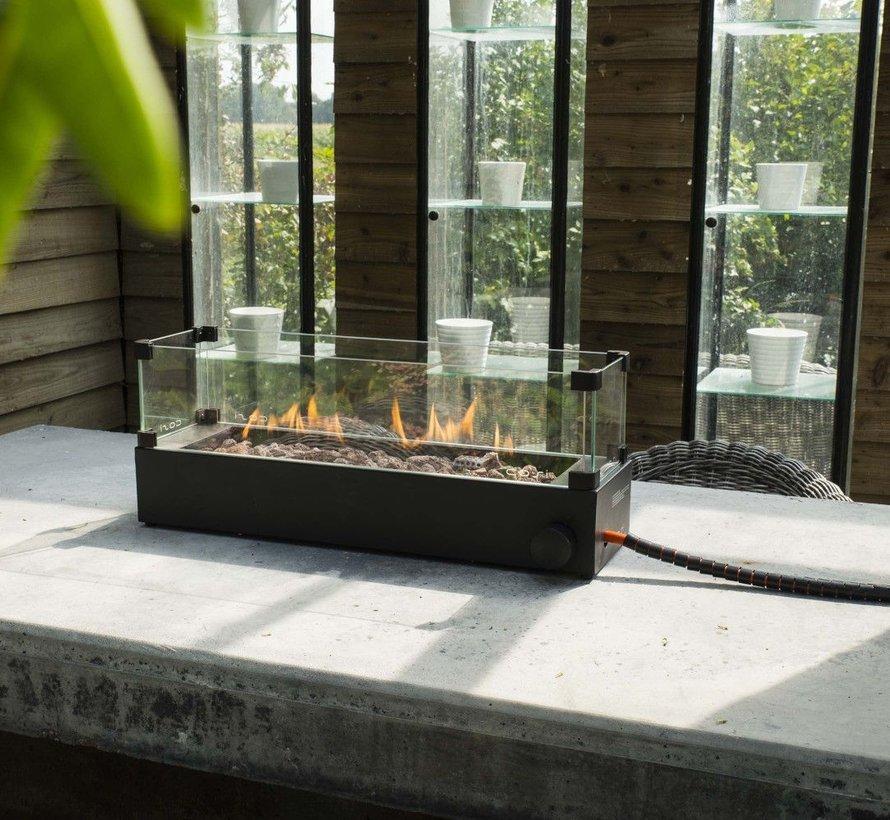 Cosi tafelbrander rechthoek zwart incl. glas