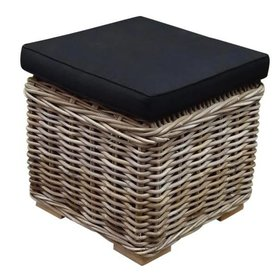 AVH-Collectie Nissah voetenbank 43x43xH43 cm naturel rotan - suntech black