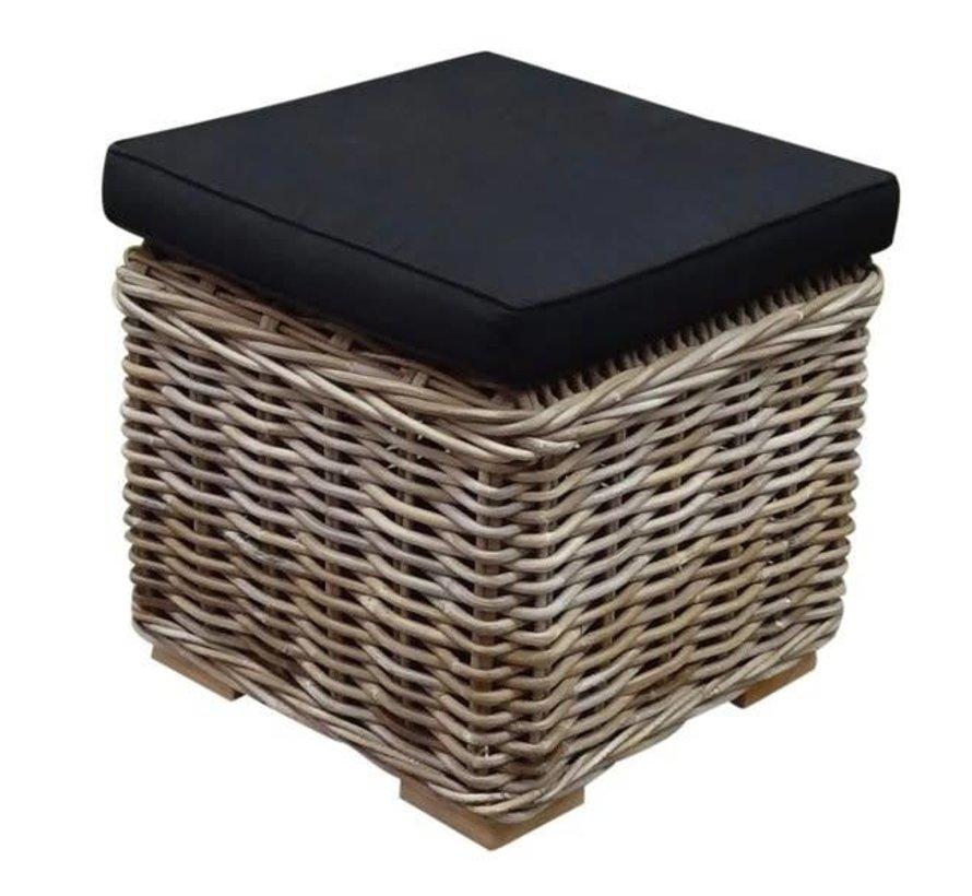 Nissah voetenbank 43x43xH43 cm naturel rotan - suntech black