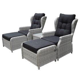 AVH-Collectie Toscane XL lounge balkonset verstelbaar 5-delig wit grijs