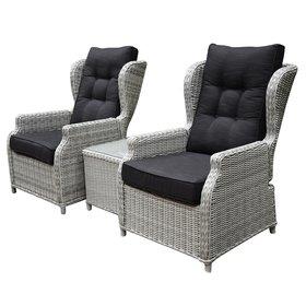 AVH-Collectie Toscane XL lounge balkonset verstelbaar 3-delig wit grijs