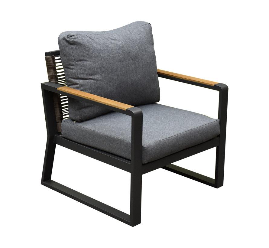 Angie stoel-bank loungeset 4-delig aluminium rope
