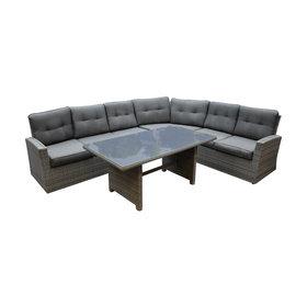 AVH-Collectie Houston XL hoek dining loungeset 4-delig rechts antraciet
