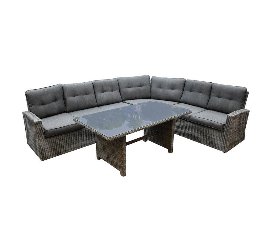 Houston XL hoek dining loungeset 4-delig rechts antraciet
