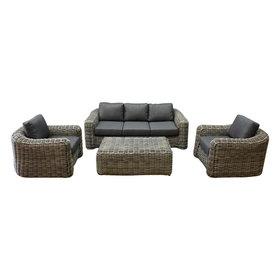 AVH-Collectie Las Palmas stoel bank loungeset 4-delig grijs