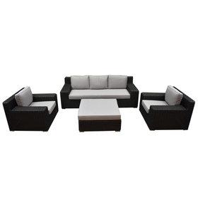 AVH-Collectie Manjavico stoel bank loungeset 4-delig antraciet
