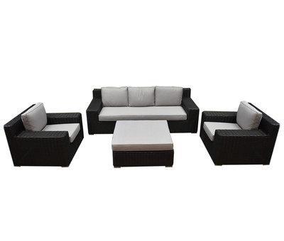 AVH-Collectie Manjavico stoel bank loungeset 4-delig zwart wicker