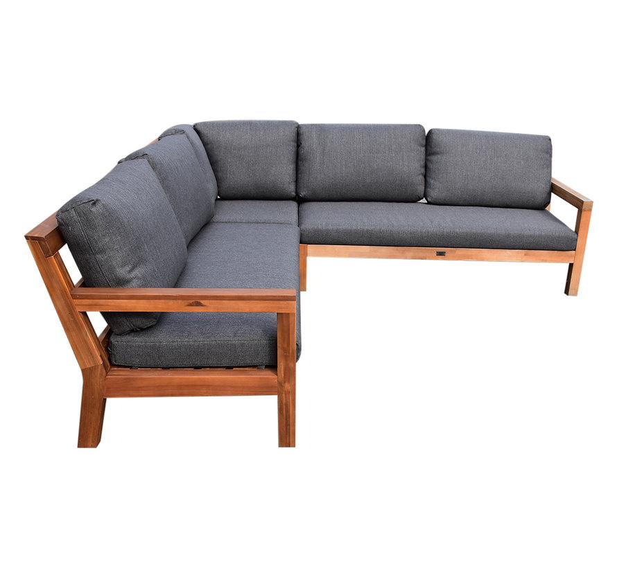 Harby hoek loungeset 5-delig teaklook