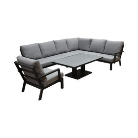AVH-Collectie New York hoek dining loungeset 6-delig antraciet