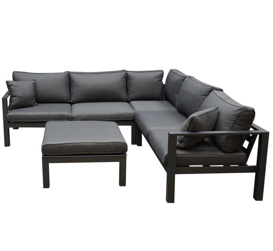 Merida hoek loungeset 4-delig antraciet aluminium