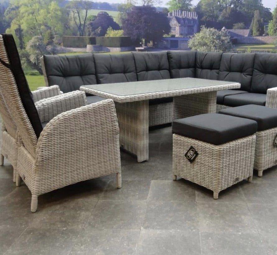 San Marino hoek dining loungeset 7-delig verstelbaar wit grijs rechts