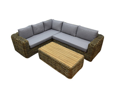 AVH-Collectie Sumatra XL hoek loungeset 3-delig naturel rotan