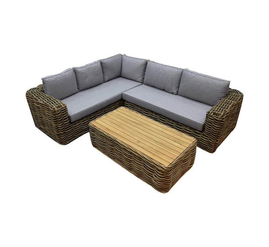 Sumatra XL hoek loungeset 3-delig naturel rotan