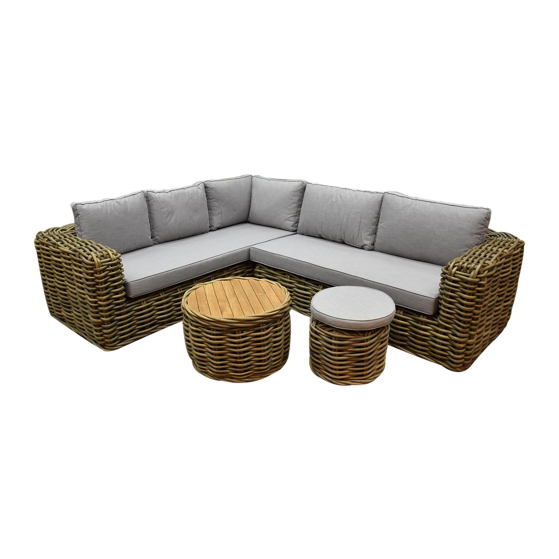 Sumatra XL hoek loungeset 4-delig naturel rotan